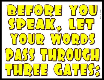 Before You Speak - 3 Gates Visual - Great for Personal & Social Responsibility!