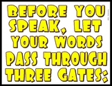 Before You Speak - 3 Gates Visual - Great for Personal & S