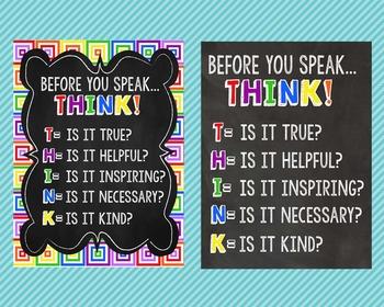 Before You Speak... THINK!  Digital Poster