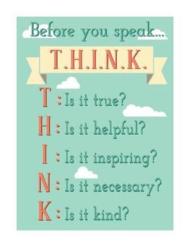 Before You Speak T.H.I.N.K Poster