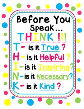 Before You Speak - THINK!!!  Poster
