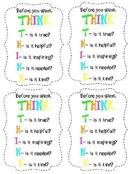 THINK Before You Speak Posters and Questions