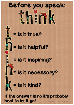 Before You Speak...Think - Classroom Poster