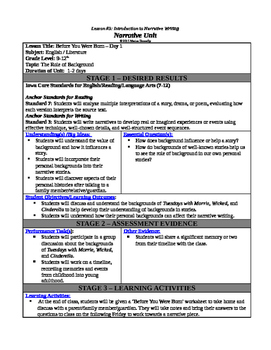 Narrative Writing - Background Lesson Plan