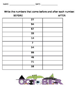 Before and After Math Activity