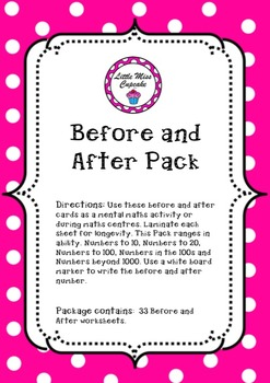 Before and After Number Pack