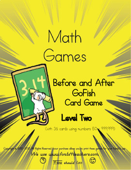 Before and After Numbers- Go Fish Card Game(nine sets 50, 51,52 - upto 999, 999)