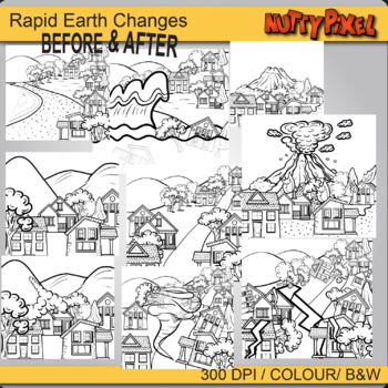 Before and After Rapid Earth Changes -  Earth Clip art