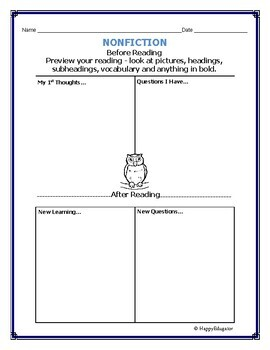 FREE Before and After Reading Nonfiction Graphic Organizer