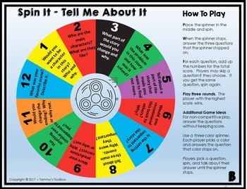 Reading Comprehension Spin It Game