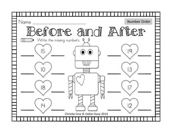 Before and After Robot Number Order *FREEBIE