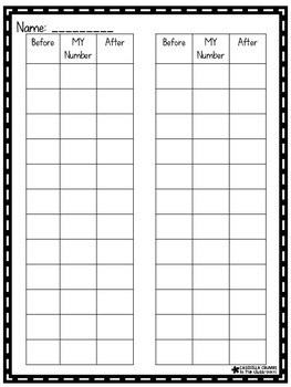 Before and After Sequencing Math Stations Recording Sheet