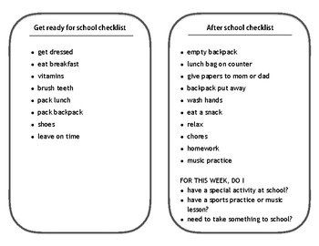 Before and after school checklists