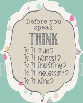 Before you Speak THINK Poster School Counselor Counseling Office Therapy Respect
