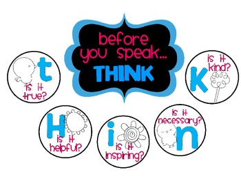 Before you Speak... THINK Posters