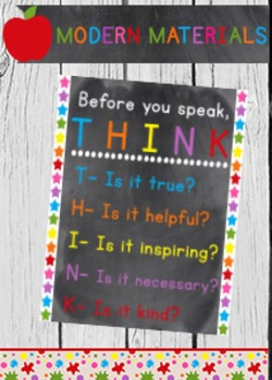 Before you speak T-H-I-N-K 8x10 poster sign