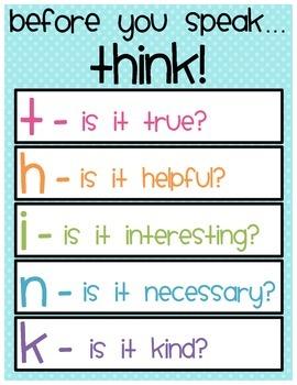 """Before you speak... THINK"" Printable"
