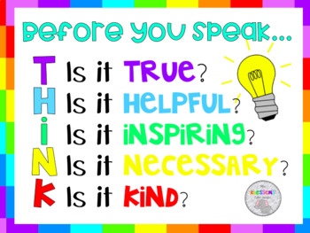Before you speak classroom management poster
