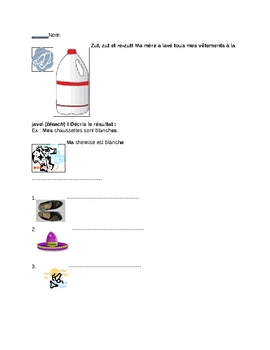 ~ ON SALE Beg. French clothing: color adjective agreement worksheet