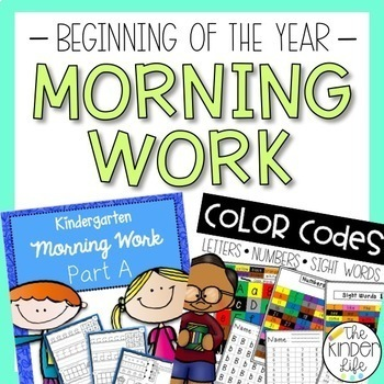 Kindergarten Morning Work Bundle Letters Numbers Addition and Vocabulary