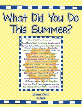 Beginning of Year Activity: What Did You Do This Summer? (Grades 6, 7, 8)