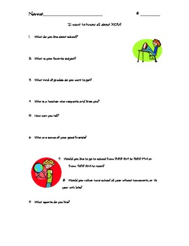 Beggining of the Year Student Survey for Upper Elementary