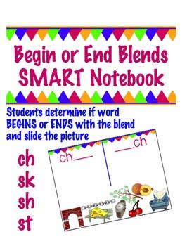 Begin or End Blend Notebook for SMART board-  ch , sh, sk, & st