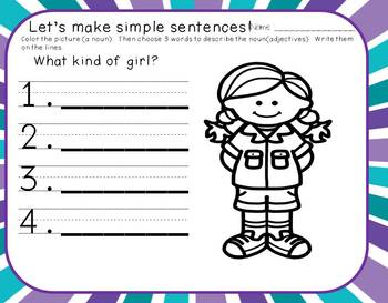 Begin to Write Unit 4-Creating sentences with nouns, verbs, adjectives