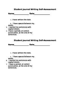 Begining Journal Writer's Self Assessment