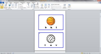 Beginning Sounds of Sports Task Cards