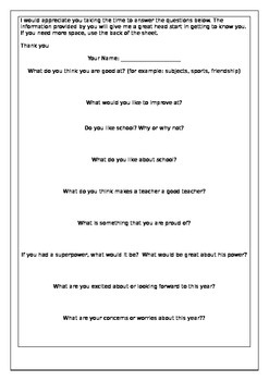 Begining of year child questionnaire