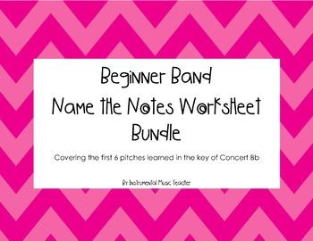 Beginner Band Name the Notes Worksheet Bundle