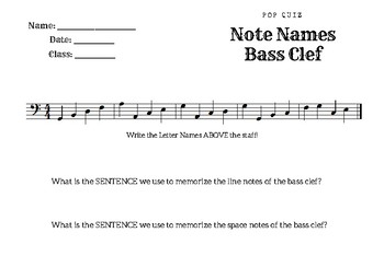 Beginner Bass Clef Note Name Quiz