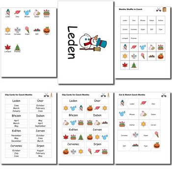 Beginner Czech Days Months Holidays - no prep printables quizes activities