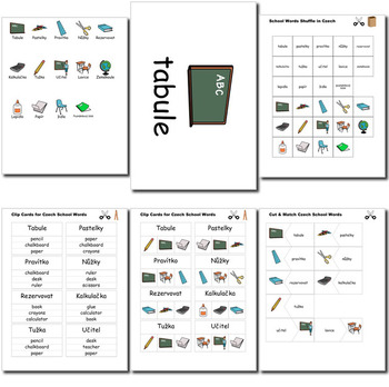 Beginner Czech: School Words no prep printables, quizes, activities and more