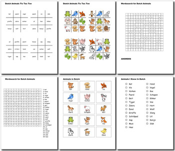 Beginner Dutch: Animals - ☆no prep☆ printables, quizes, activities and more
