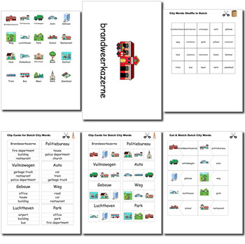 Beginner Dutch: City Words ☆no prep☆ printables, quizes, activities and more