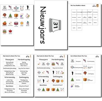 Beginner Dutch Days Months Holidays - no prep printables quizes activities