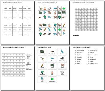 Beginner Dutch: School Words no prep printables, quizes, activities and more
