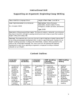 Beginner Essay Writing Instructional Unit Outline