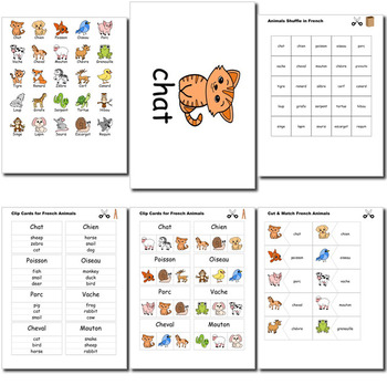 Beginner French: Animals - ☆no prep☆ printables, quizes, activities and more