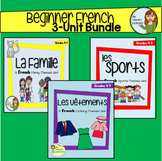 Beginner French 3-Unit Bundle - Sports, Clothing, and Fami