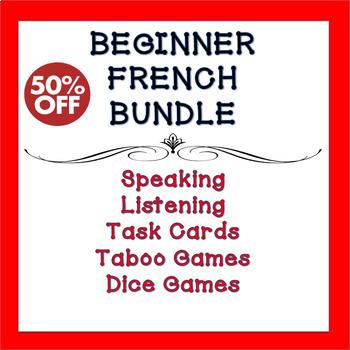 Beginner French Games, Task Cards, Speaking & Listening Comprehension Bundle