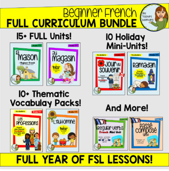 Beginner French Bundle - FULL YEAR of Activities!! (Gr 4-7)