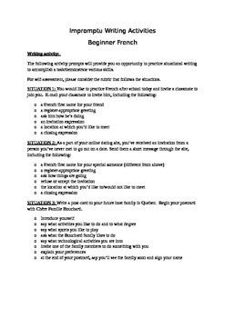 Beginner French Impromptu Writing Activities 1A