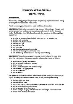 Beginner French Impromptu Writing Activities 1B