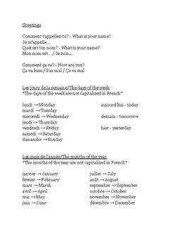 Beginner French Review Handout & Test/Worksheet
