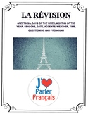 Beginner French Review Handout & Test/Worksheet