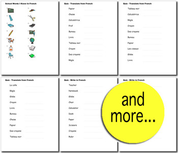 Beginner French: School Words no prep printables, quizes, activities and more