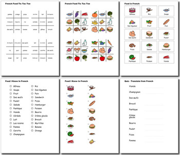 Beginner French: food - ☆no prep☆ printables, quizes, activities and more